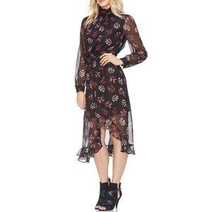 Vince Camuto Regal Stamp Floral Midi Dress